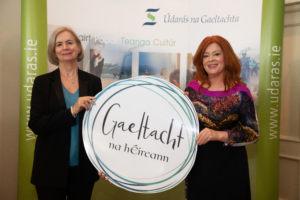Anna Ní Ghallachair, Cathaoirleach Údarás na Gaeltachta agus Bláthnaid Ní Chofaigh, RTÉ a sheol an branda Gaeltacht na hÉireann, ag an imeacht seolta