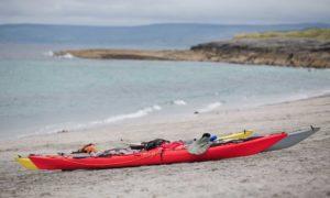 Kayaks on a beach on the Aran Islands